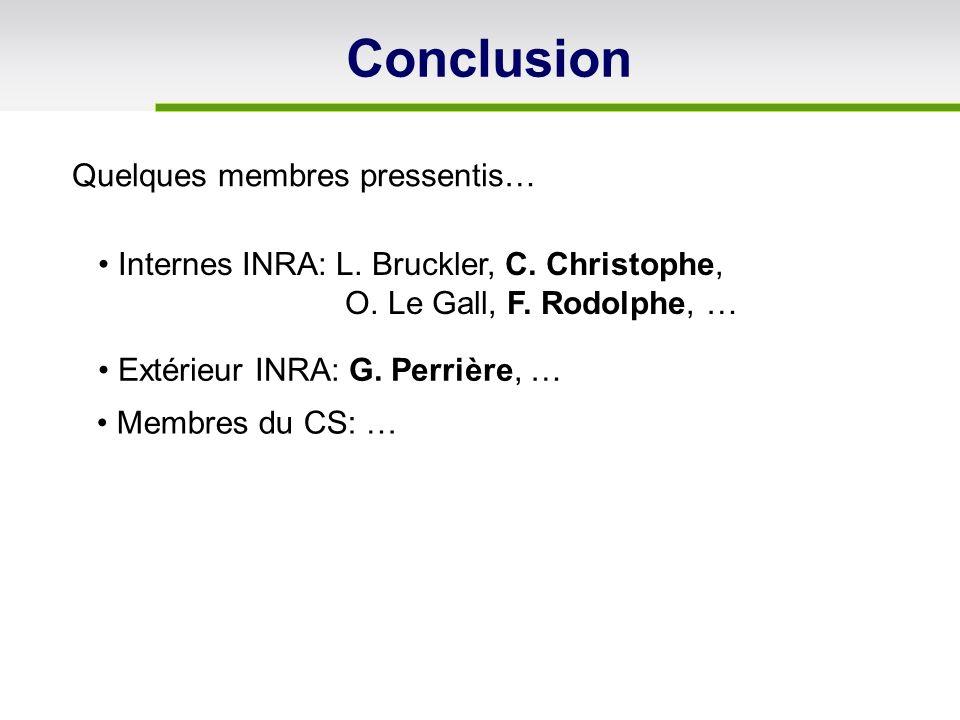 Internes INRA: L. Bruckler, C. Christophe, O. Le Gall, F. Rodolphe, … Extérieur INRA: G. Perrière, … Membres du CS: … Conclusion Quelques membres pres