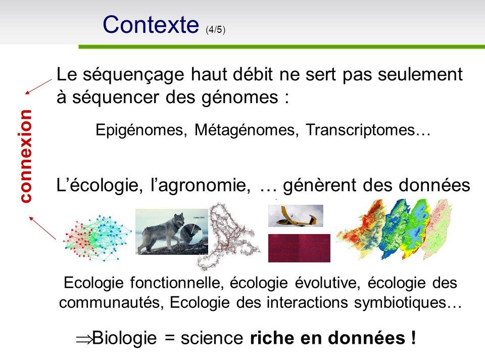Le séquençage haut débit ne sert pas seulement à séquencer des génomes : Epigénomes, Métagénomes, Transcriptomes… Biologie = science riche en données .