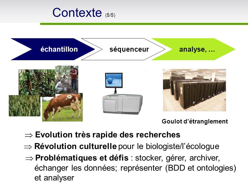 échantillon séquenceur analyse, … Goulot détranglement Problématiques et défis : stocker, gérer, archiver, échanger les données; représenter (BDD et o