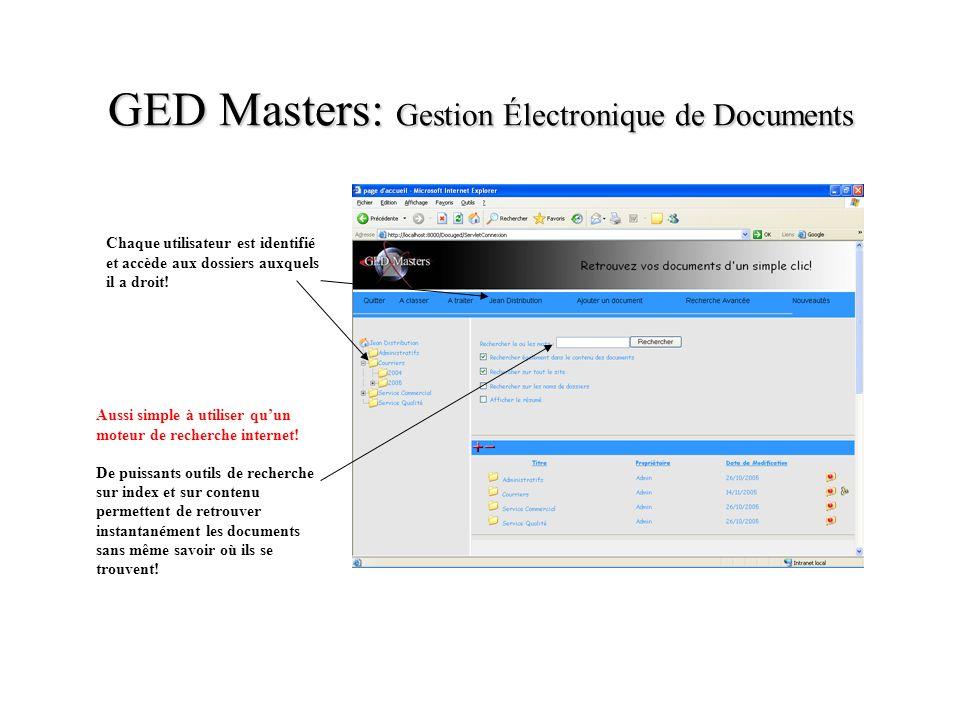 GED Masters: Gestion Électronique de Documents Chaque utilisateur est identifié et accède aux dossiers auxquels il a droit! Aussi simple à utiliser qu