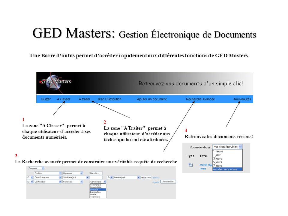 GED Masters: Gestion Électronique de Documents Une Barre doutils permet daccéder rapidement aux différentes fonctions de GED Masters 1 La zone