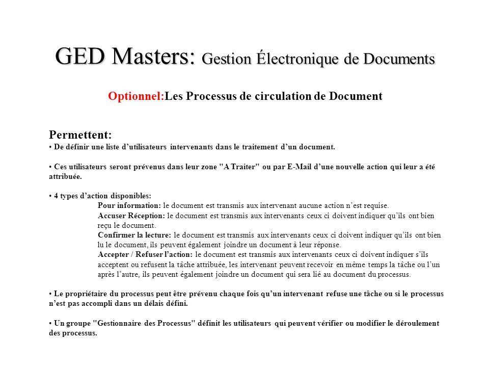 GED Masters: Gestion Électronique de Documents Optionnel:Les Processus de circulation de Document Permettent: De définir une liste dutilisateurs inter