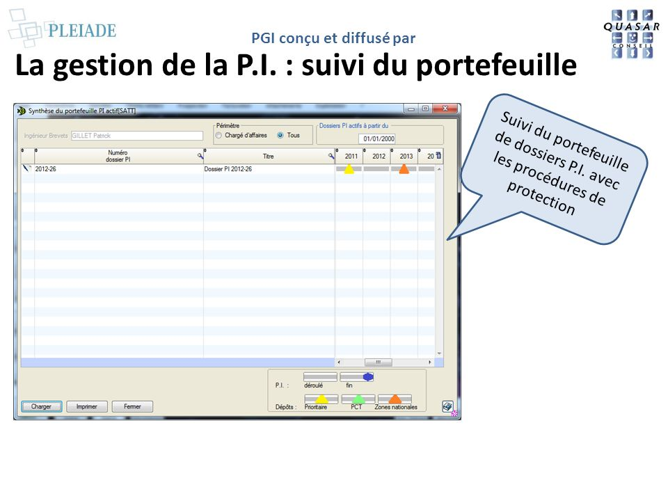 PGI conçu et diffusé par La gestion de la P.I. : suivi du portefeuille Suivi du portefeuille de dossiers P.I. avec les procédures de protection