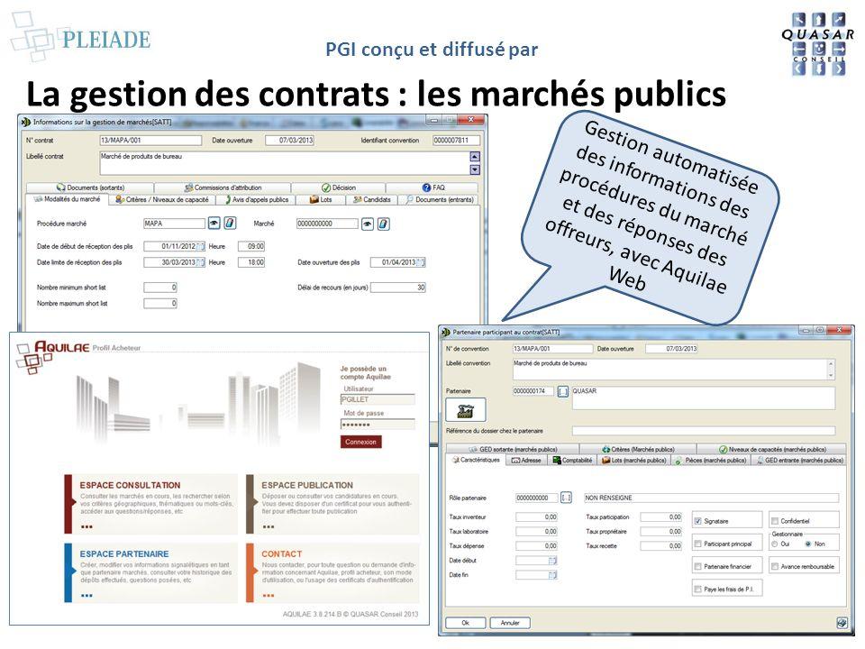 PGI conçu et diffusé par La gestion des contrats : les marchés publics Gestion automatisée des informations des procédures du marché et des réponses d