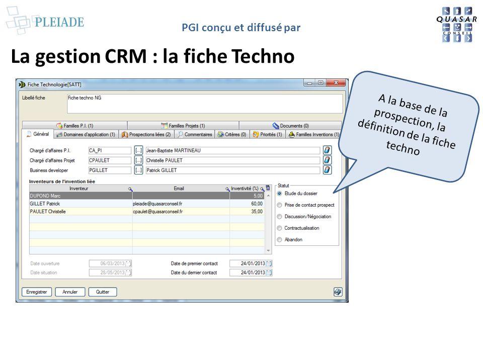 PGI conçu et diffusé par La gestion CRM : la fiche Techno A la base de la prospection, la définition de la fiche techno