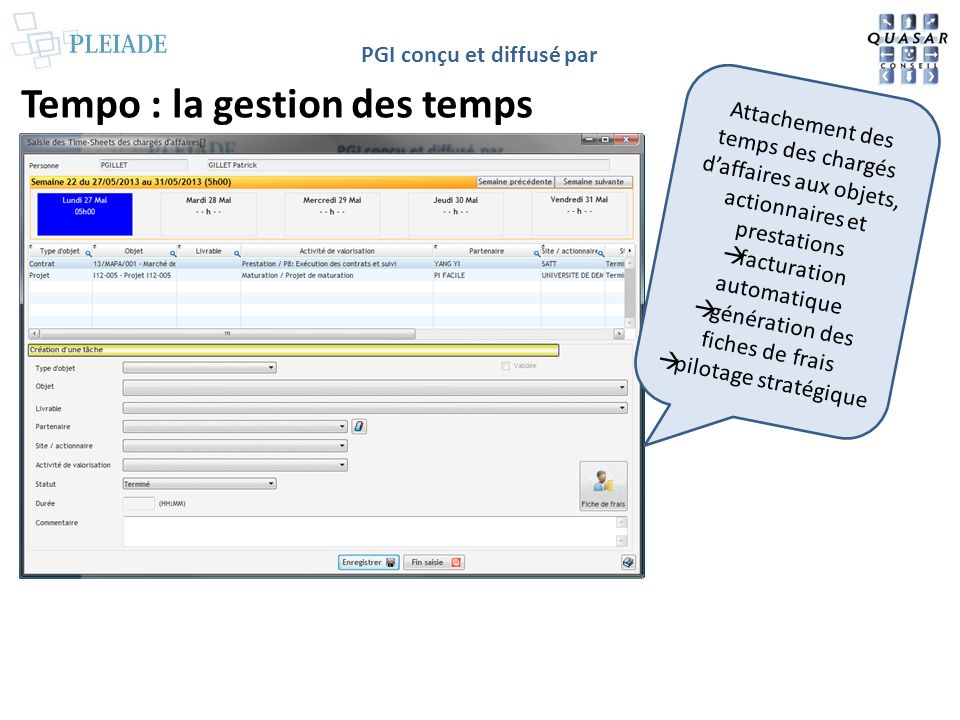 PGI conçu et diffusé par Tempo : la gestion des temps Attachement des temps des chargés daffaires aux objets, actionnaires et prestations facturation