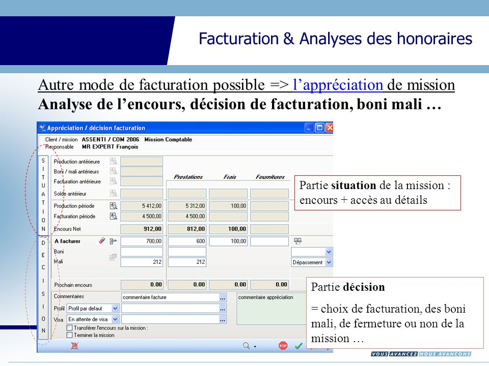 CEGID Expert Gestion Interne Facturation & Analyses des honoraires Autre mode de facturation possible => lappréciation de mission Analyse de lencours, décision de facturation, boni mali … Partie situation de la mission : encours + accès au détails Partie décision = choix de facturation, des boni mali, de fermeture ou non de la mission …