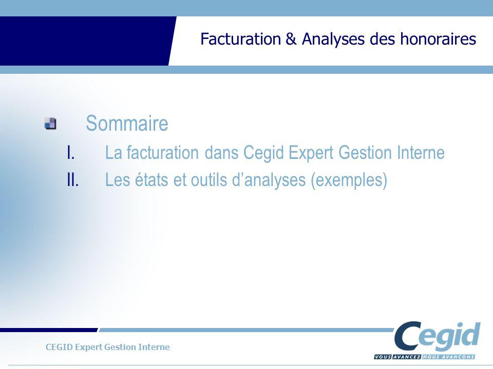 CEGID Expert Gestion Interne Facturation & Analyses des honoraires Exemples de cubes danalyses des données