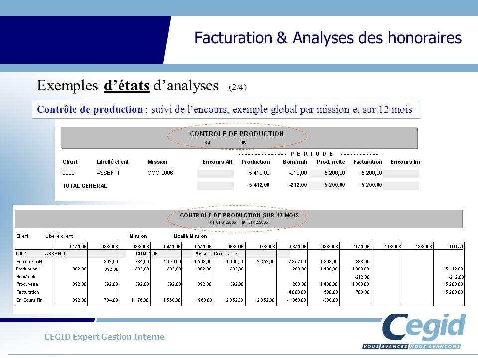 CEGID Expert Gestion Interne Facturation & Analyses des honoraires Exemples détats danalyses (2/4) Contrôle de production : suivi de lencours, exemple