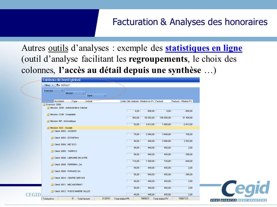 CEGID Expert Gestion Interne Facturation & Analyses des honoraires Autres outils danalyses : exemple des statistiques en ligne (outil danalyse facilit