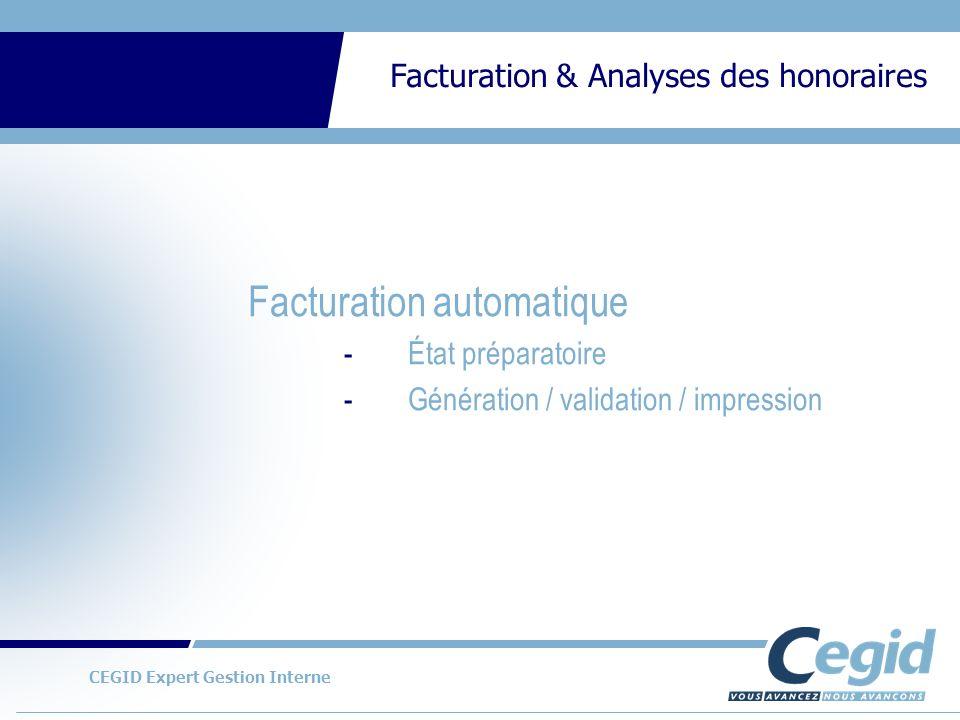 CEGID Expert Gestion Interne Facturation & Analyses des honoraires Exemples danalyses en lignes