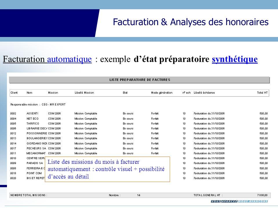 CEGID Expert Gestion Interne Facturation & Analyses des honoraires Facturation automatique : exemple détat préparatoire synthétique Liste des missions