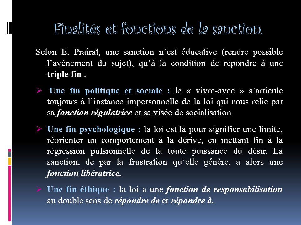 Finalités et fonctions de la sanction.Selon E.