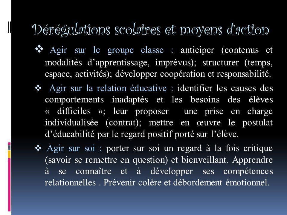 Dérégulations scolaires et moyens daction Agir sur le groupe classe : anticiper (contenus et modalités dapprentissage, imprévus); structurer (temps, espace, activités); développer coopération et responsabilité.