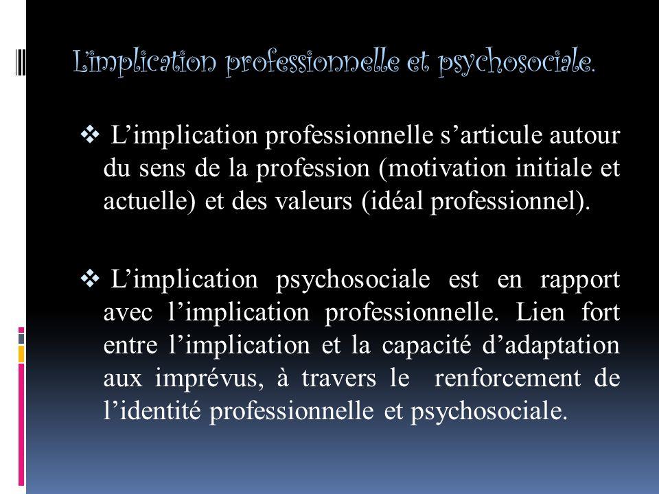 Limplication professionnelle et psychosociale.