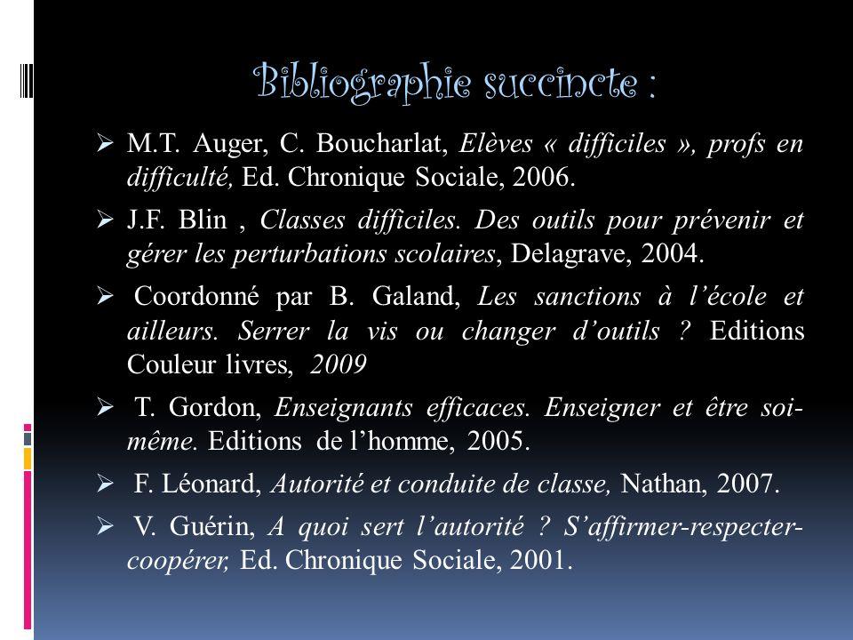 Bibliographie succincte : M.T.Auger, C.