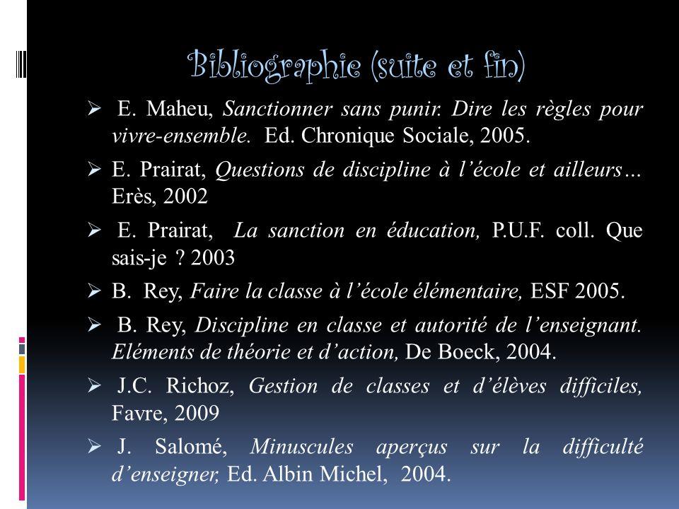 Bibliographie (suite et fin) E.Maheu, Sanctionner sans punir.