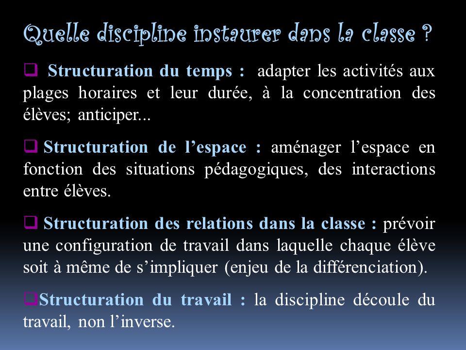 Quelle discipline instaurer dans la classe .