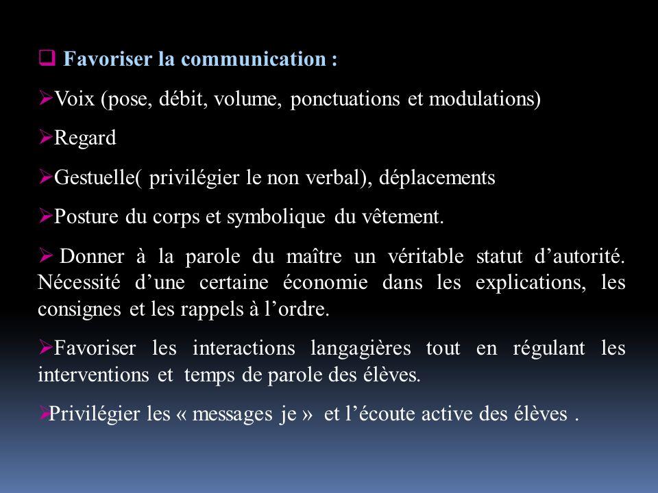 Favoriser la communication : Voix (pose, débit, volume, ponctuations et modulations) Regard Gestuelle( privilégier le non verbal), déplacements Posture du corps et symbolique du vêtement.
