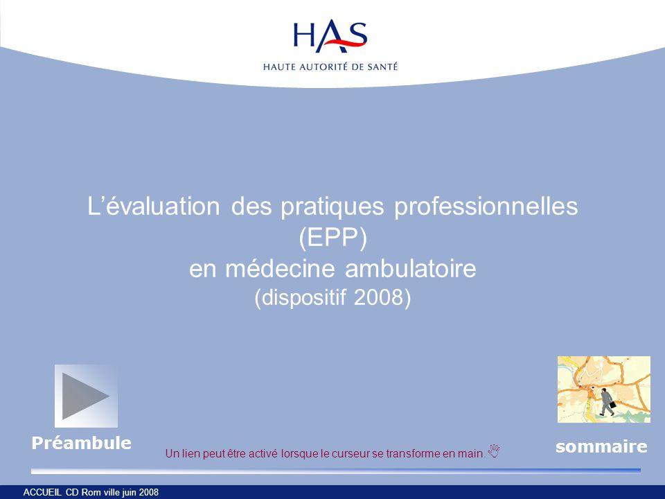 ACCUEIL CD Rom ville juin 2008 Lévaluation des pratiques professionnelles (EPP) en médecine ambulatoire (dispositif 2008) Un lien peut être activé lor