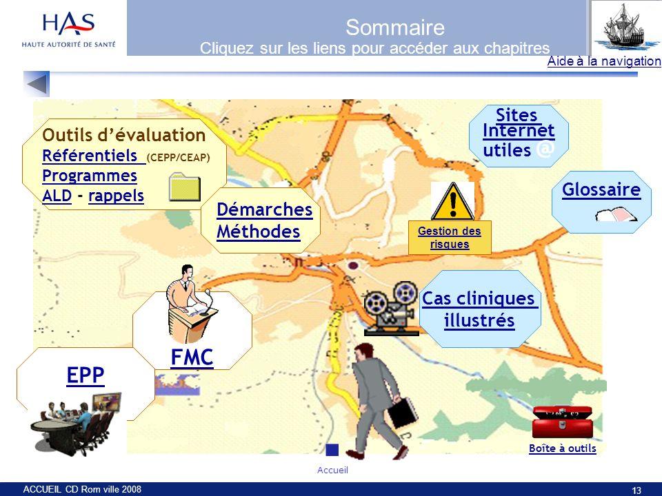 ACCUEIL CD Rom ville 2008 13 Sommaire Outils dévaluation Référentiels Référentiels (CEPP/CEAP) Programmes ALDALD - rappelsrappels FMC Démarches Méthod