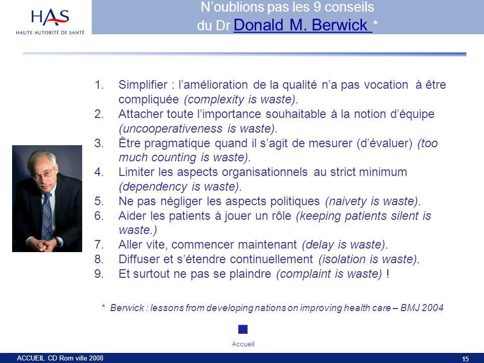 ACCUEIL CD Rom ville 2008 15 1.Simplifier : lamélioration de la qualité na pas vocation à être compliquée (complexity is waste). 2.Attacher toute limp