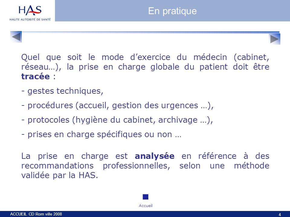ACCUEIL CD Rom ville 2008 4 Quel que soit le mode dexercice du médecin (cabinet, réseau…), la prise en charge globale du patient doit être tracée : -