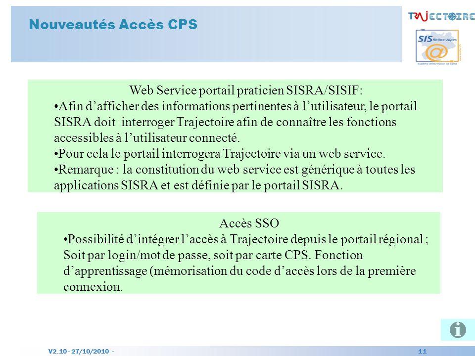 V2.10 - 27/10/2010 - 11 Nouveautés Accès CPS Web Service portail praticien SISRA/SISIF: Afin dafficher des informations pertinentes à lutilisateur, le