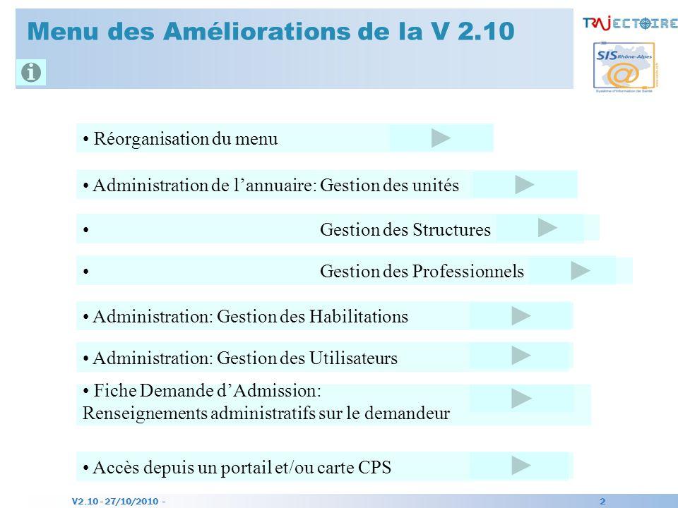 V2.10 - 27/10/2010 - 2 Menu des Améliorations de la V 2.10 Réorganisation du menu Administration de lannuaire: Gestion des unités Gestion des Structur