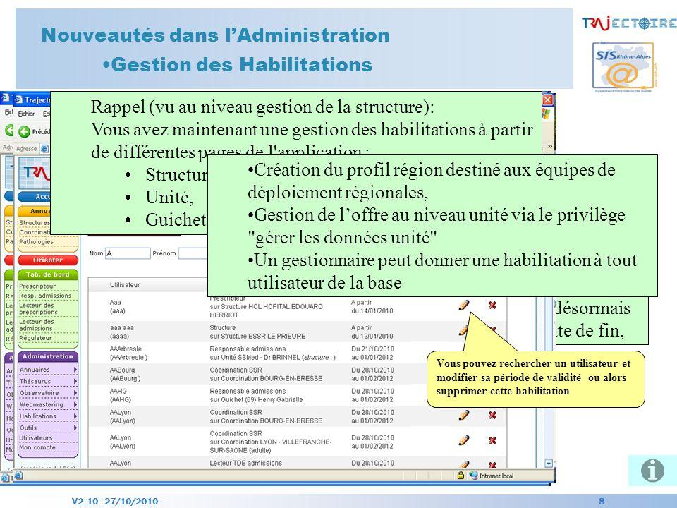 V2.10 - 27/10/2010 - 8 Nouveautés dans lAdministration Gestion des Habilitations Nouvelle page daccès dans le menu. Cette fonction est surtout pour fa
