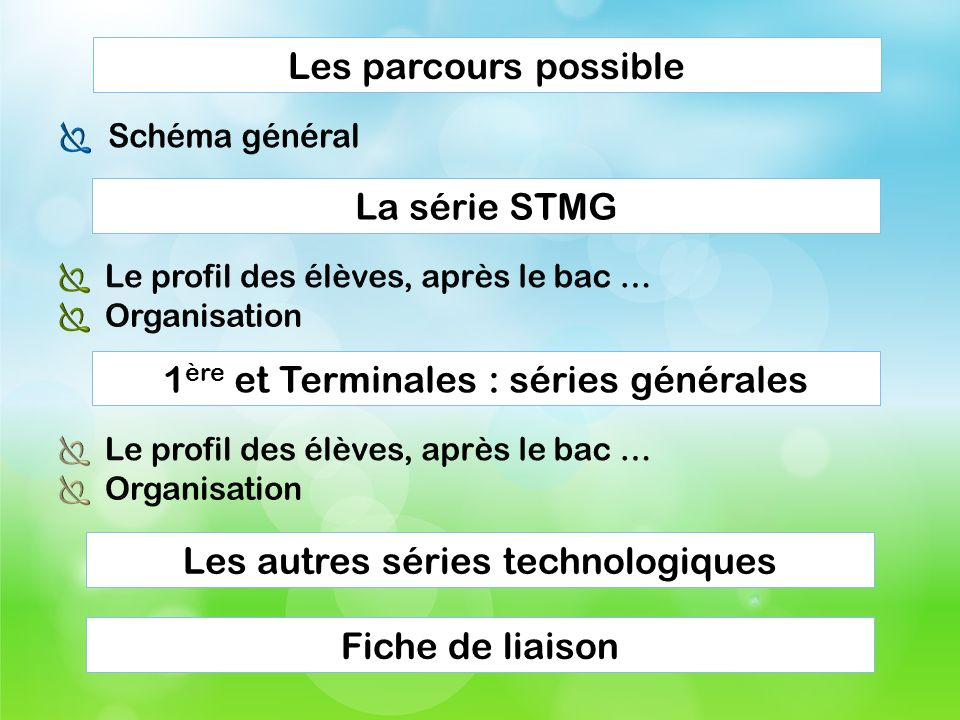 Les parcours possibleLa série STMG1 ère et Terminales : séries générales Les autres séries technologiques Fiche de liaison