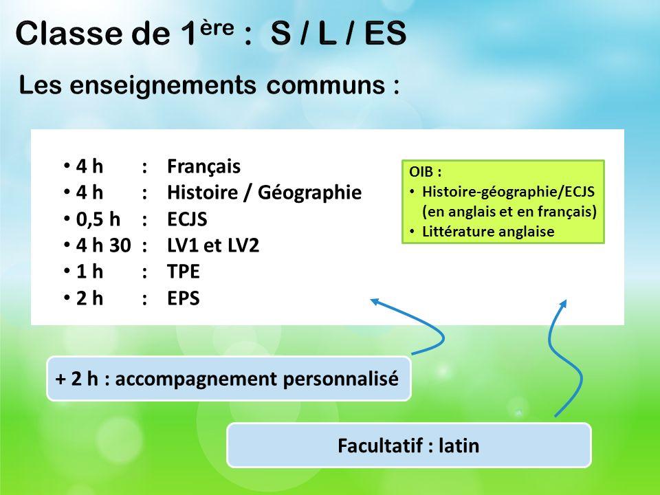 4 h: Français 4 h: Histoire / Géographie 0,5 h: ECJS 4 h 30: LV1 et LV2 1 h: TPE 2 h: EPS OIB : Histoire-géographie/ECJS (en anglais et en français) L