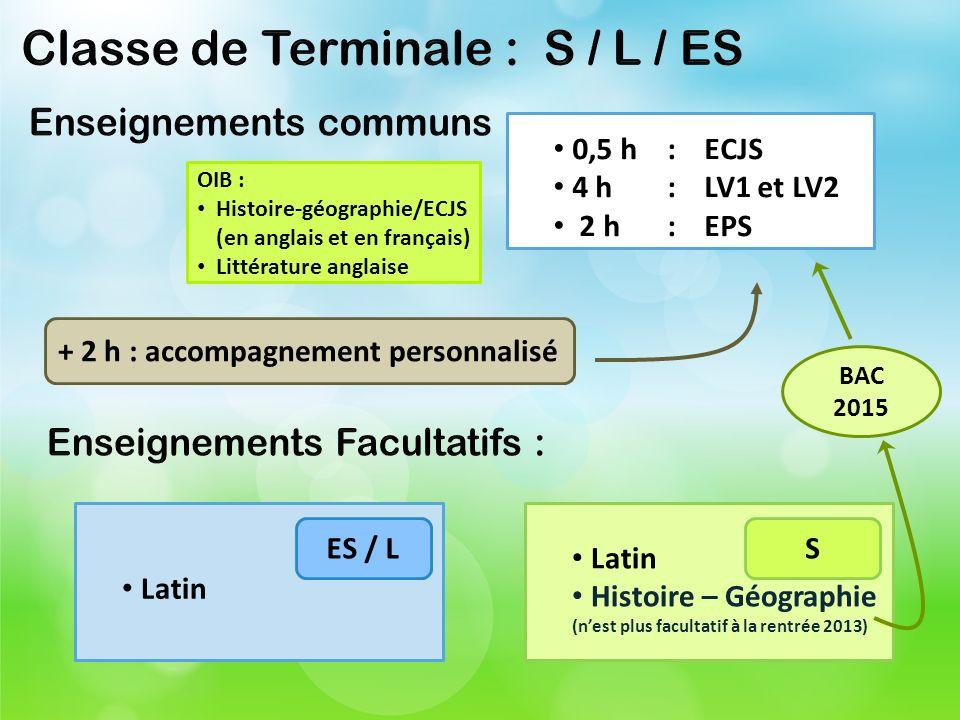 0,5 h: ECJS 4 h : LV1 et LV2 2 h: EPS Latin ES / L Latin Histoire – Géographie (nest plus facultatif à la rentrée 2013) S + 2 h : accompagnement perso