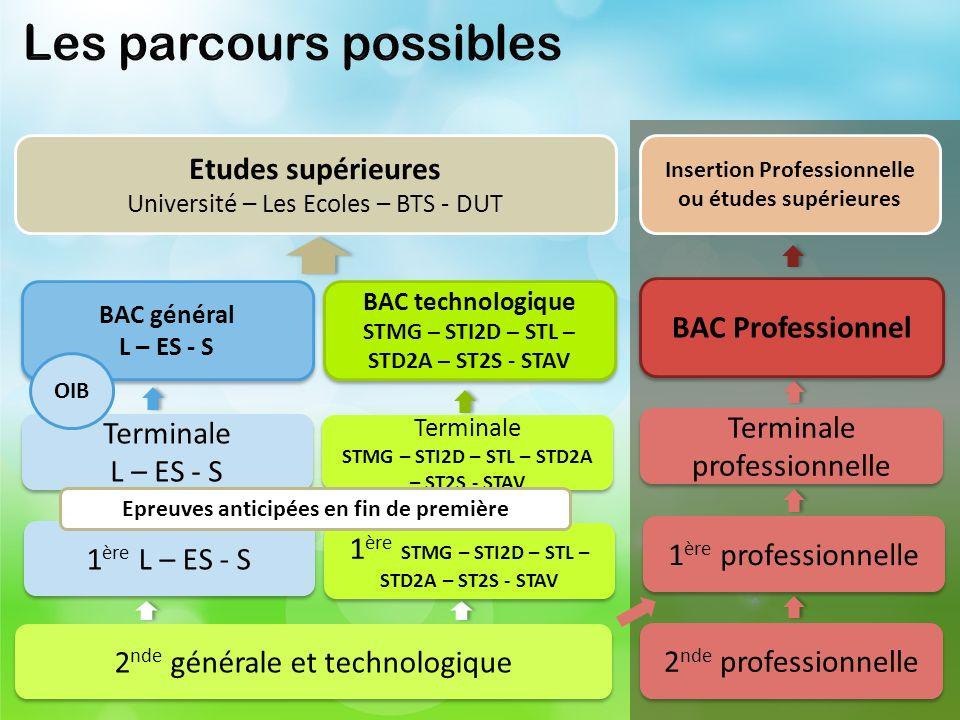 2 nde générale et technologique BAC Professionnel 2 nde professionnelle 1 ère professionnelle Terminale professionnelle Insertion Professionnelle ou é
