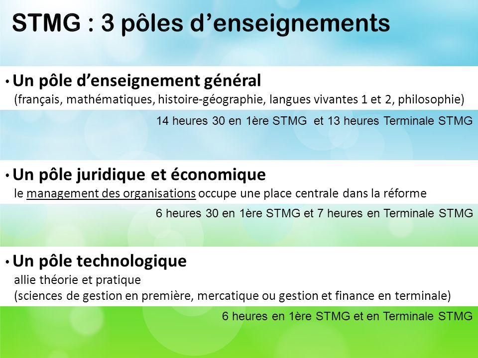 Un pôle denseignement général (français, mathématiques, histoire-géographie, langues vivantes 1 et 2, philosophie) 14 heures 30 en 1ère STMG et 13 heu