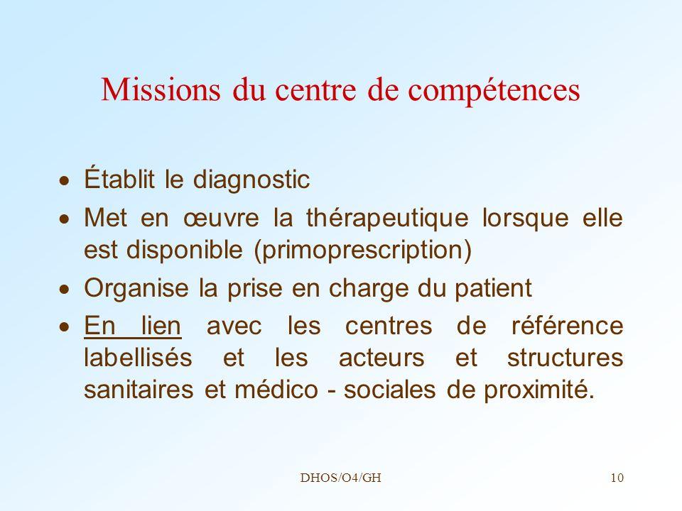 DHOS/O4/GH10 Missions du centre de compétences Établit le diagnostic Met en œuvre la thérapeutique lorsque elle est disponible (primoprescription) Org