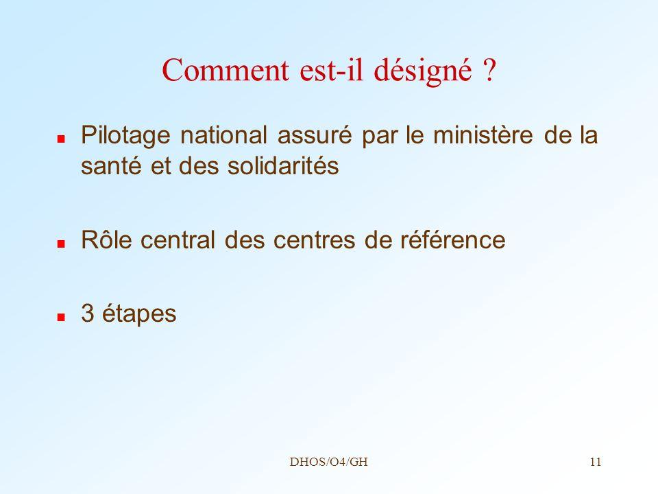 DHOS/O4/GH11 Comment est-il désigné ? Pilotage national assuré par le ministère de la santé et des solidarités Rôle central des centres de référence 3