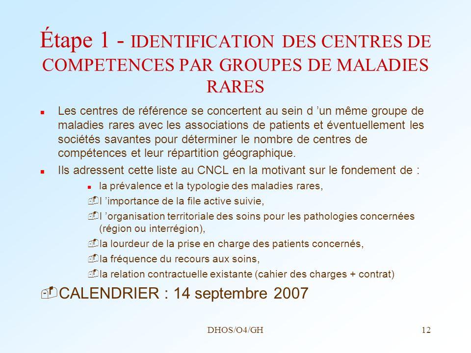 DHOS/O4/GH12 Étape 1 - IDENTIFICATION DES CENTRES DE COMPETENCES PAR GROUPES DE MALADIES RARES Les centres de référence se concertent au sein d un mêm