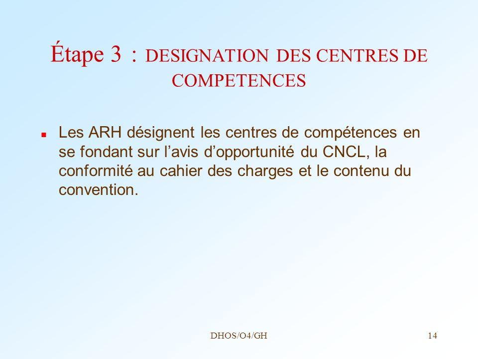 DHOS/O4/GH14 Étape 3 : DESIGNATION DES CENTRES DE COMPETENCES Les ARH désignent les centres de compétences en se fondant sur lavis dopportunité du CNC