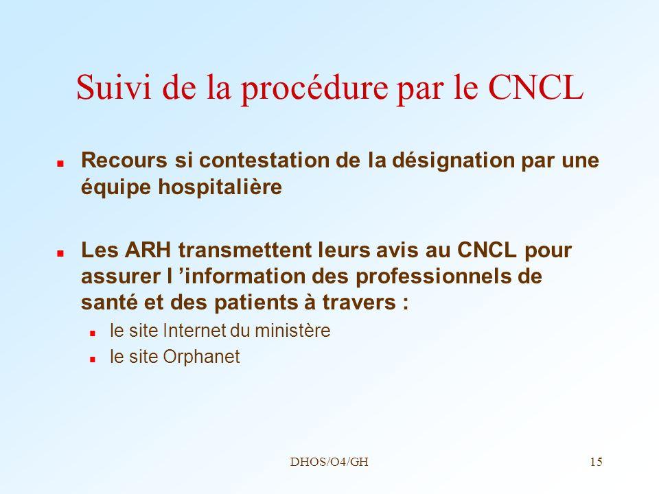 DHOS/O4/GH15 Suivi de la procédure par le CNCL Recours si contestation de la désignation par une équipe hospitalière Les ARH transmettent leurs avis a