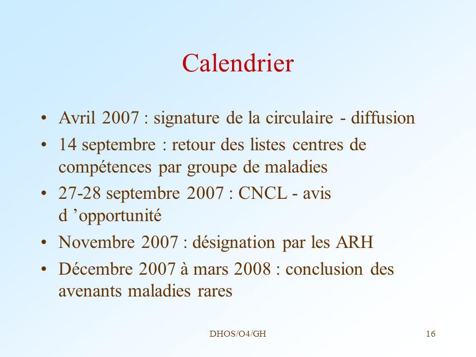 DHOS/O4/GH16 Calendrier Avril 2007 : signature de la circulaire - diffusion 14 septembre : retour des listes centres de compétences par groupe de mala