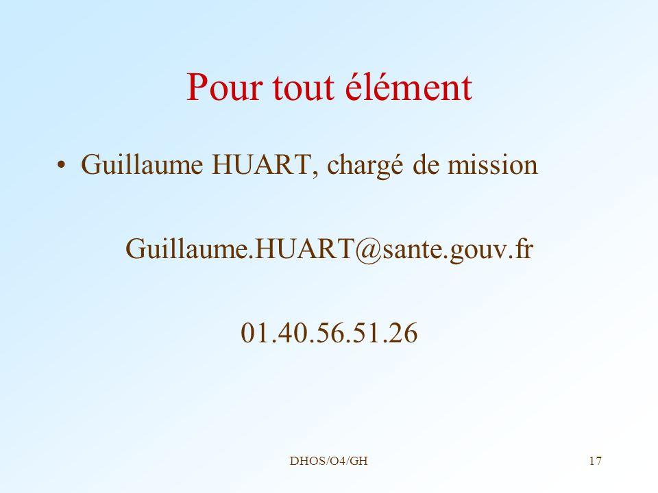 DHOS/O4/GH17 Pour tout élément Guillaume HUART, chargé de mission Guillaume.HUART@sante.gouv.fr 01.40.56.51.26