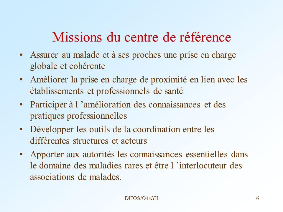 DHOS/O4/GH6 Missions du centre de référence Assurer au malade et à ses proches une prise en charge globale et cohérente Améliorer la prise en charge d