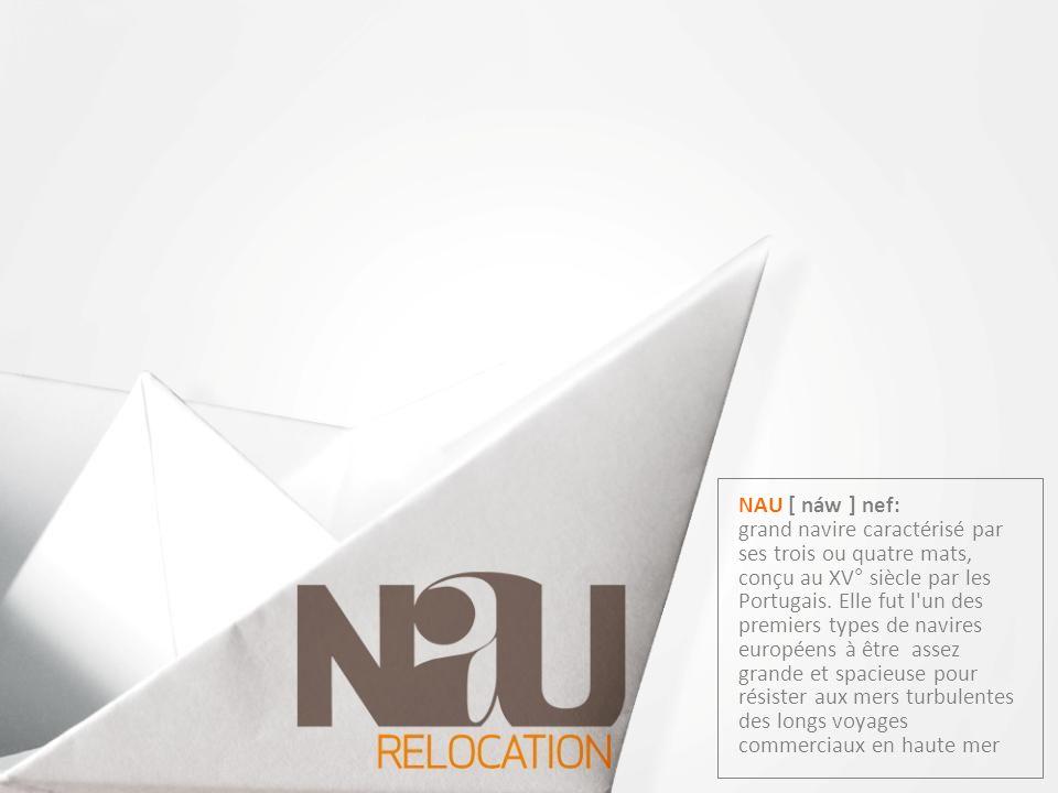 NAU [ náw ] nef: grand navire caractérisé par ses trois ou quatre mats, conçu au XV° siècle par les Portugais.