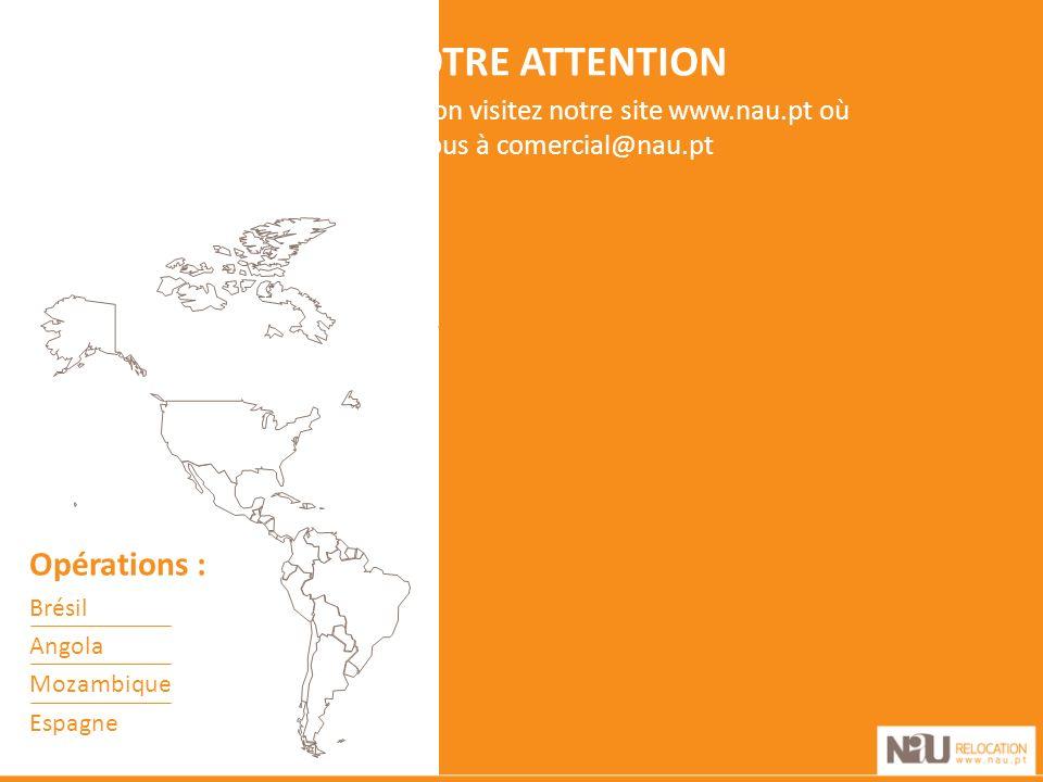 MERCI DE VOTRE ATTENTION Pour plus d information visitez notre site www.nau.pt où écrivez-nous à comercial@nau.pt Opérations : Brésil Angola Mozambique Espagne