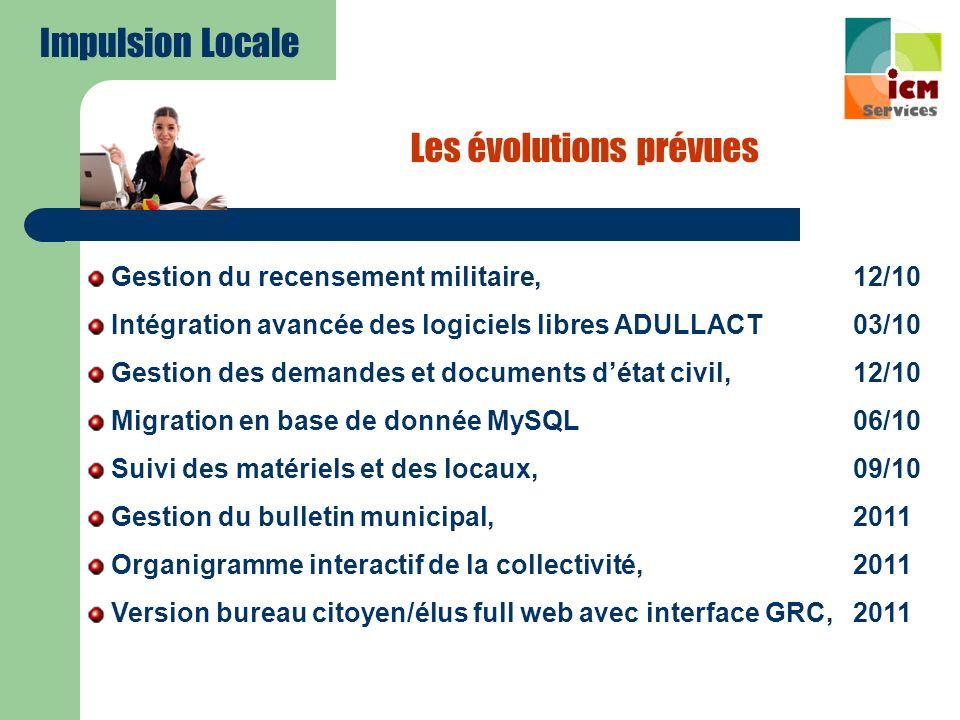 Les évolutions prévues Gestion du recensement militaire, 12/10 Intégration avancée des logiciels libres ADULLACT03/10 Gestion des demandes et document