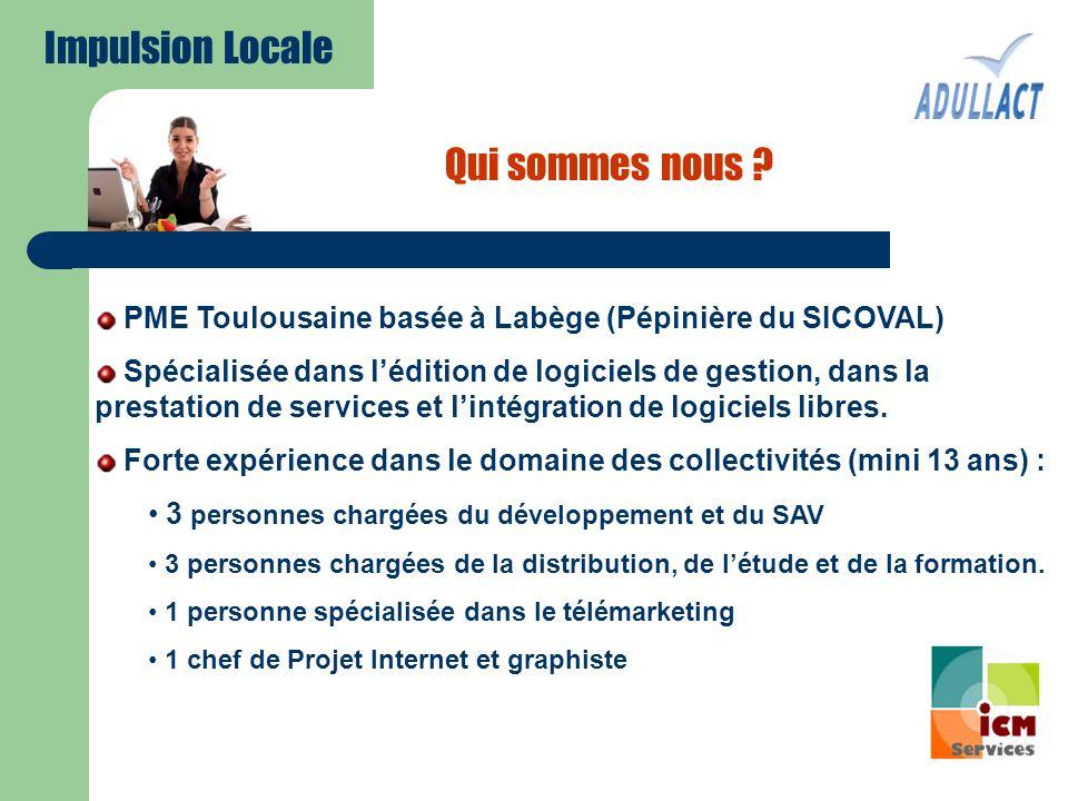 Qui sommes nous ? PME Toulousaine basée à Labège (Pépinière du SICOVAL) Spécialisée dans lédition de logiciels de gestion, dans la prestation de servi