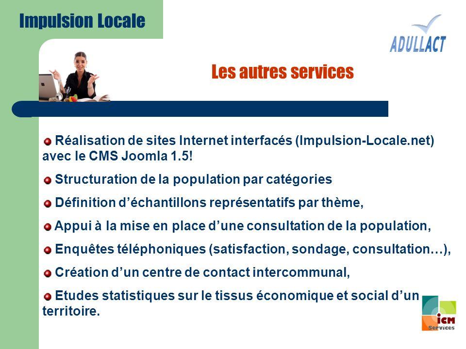 Les autres services Réalisation de sites Internet interfacés (Impulsion-Locale.net) avec le CMS Joomla 1.5! Structuration de la population par catégor
