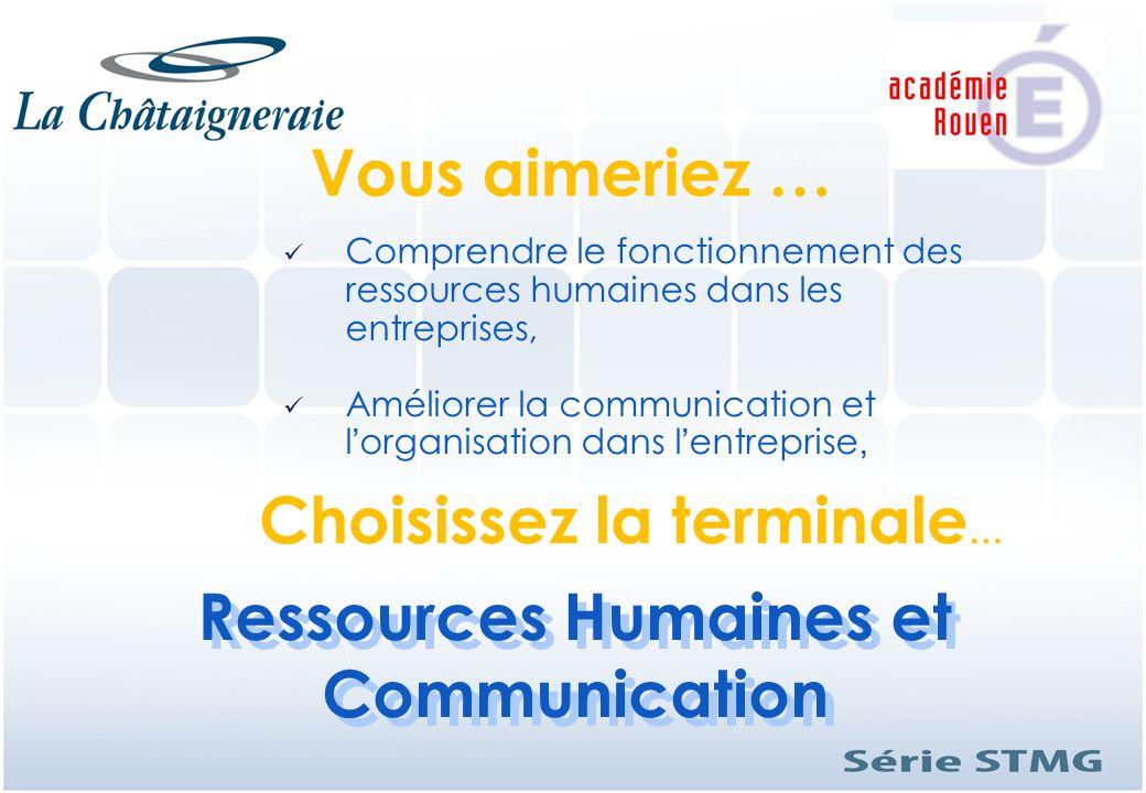 Ressources Humaines et Communication Ressources Humaines et Communication Vous aimeriez … Comprendre le fonctionnement des ressources humaines dans le