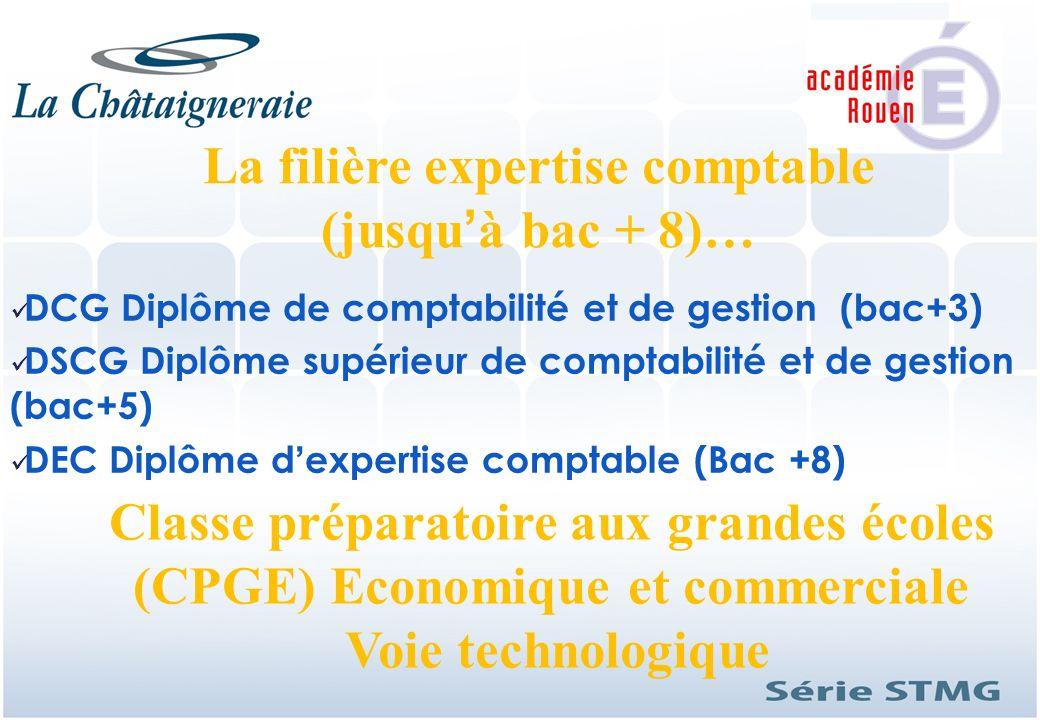 La filière expertise comptable (jusquà bac + 8)… DCG Diplôme de comptabilité et de gestion (bac+3) DSCG Diplôme supérieur de comptabilité et de gestio